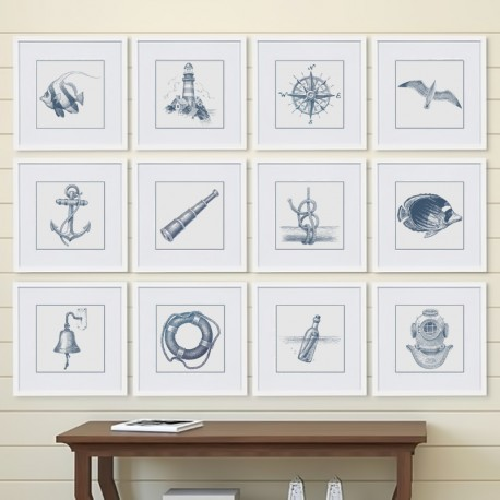 """Set posters in rame """"Nautical"""""""