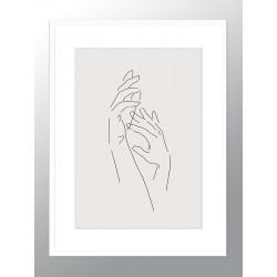 """Framed Poster """"Line Hands"""""""