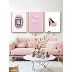 """Set framed poster """"Only pink"""""""